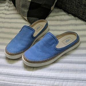UGG Blue Suede Mules 7.5
